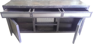 Industrial Console with Drawers everything open