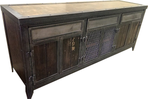 Industrial steel and wood console/cabinet with hidden compartment.