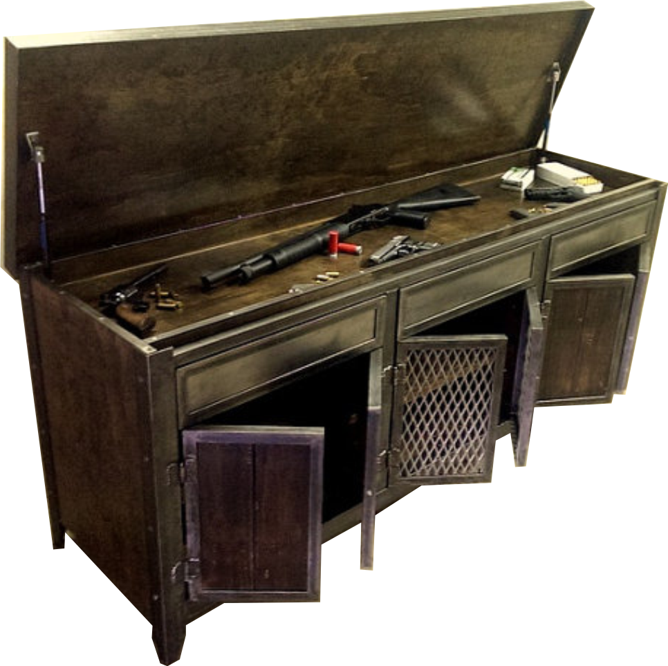 Industrial steel and wood console/cabinet with hidden compartment ...