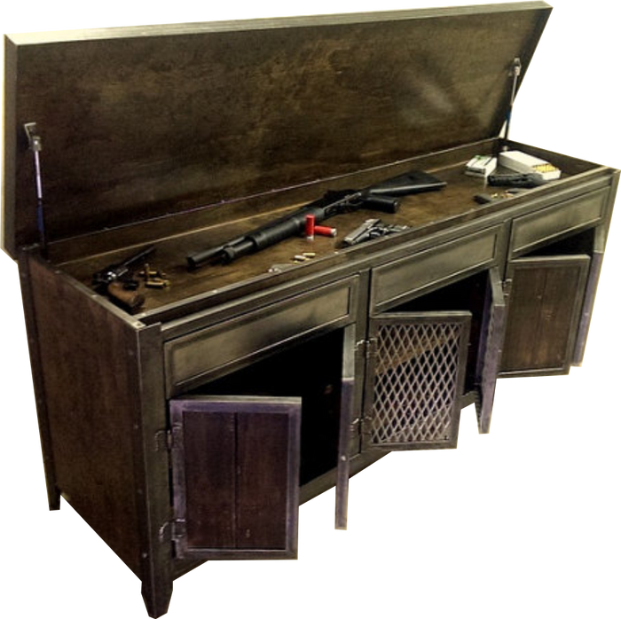 #007 - Industrial Steel and Wood Console with Hidden Compartment