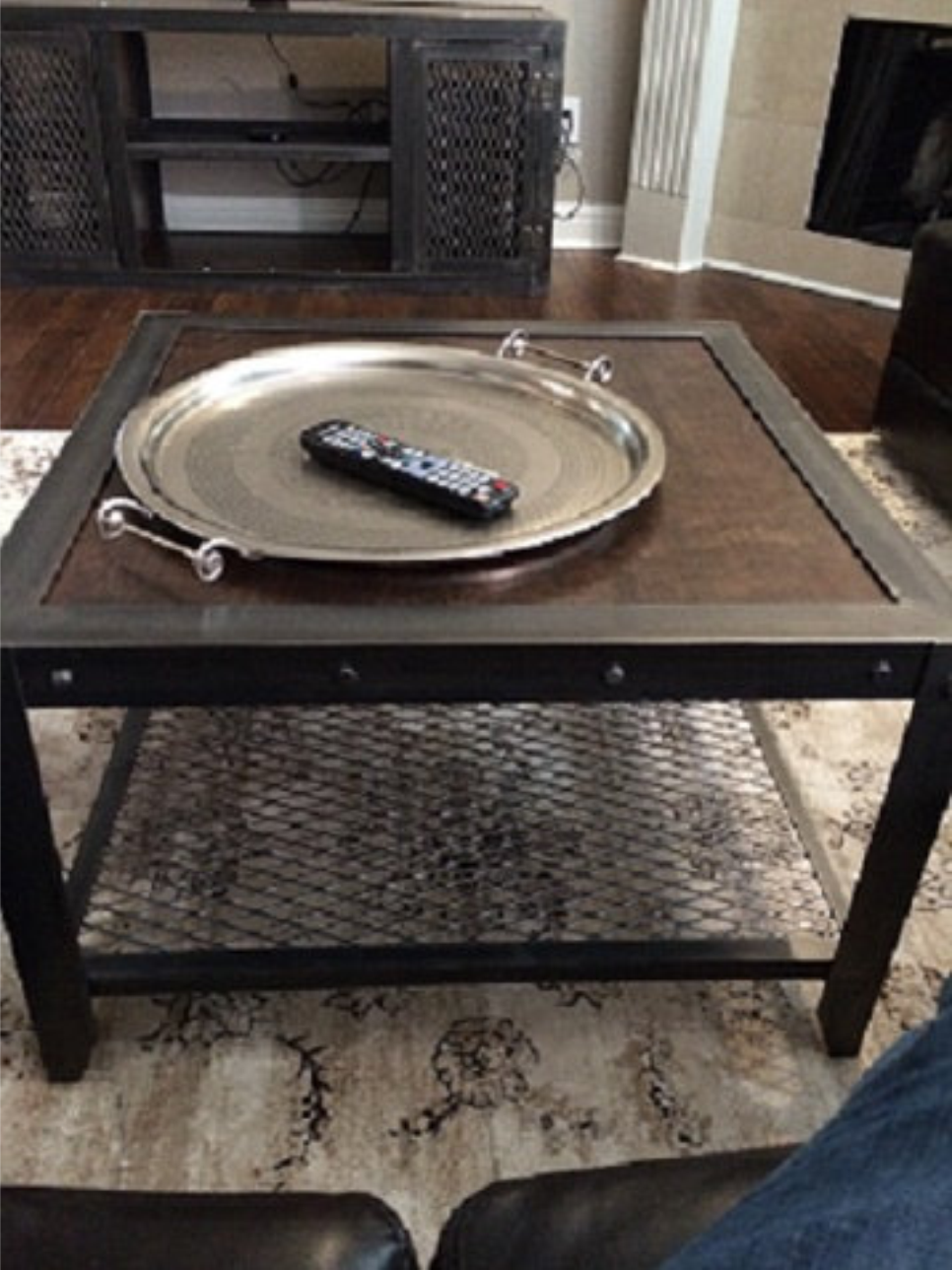 Modern Industrial Custom Side Table - Front View