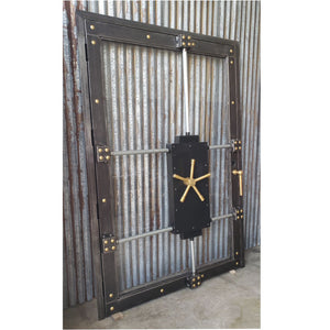#027G - Custom Vintage-Look Industrial Glass Bank Vault Door