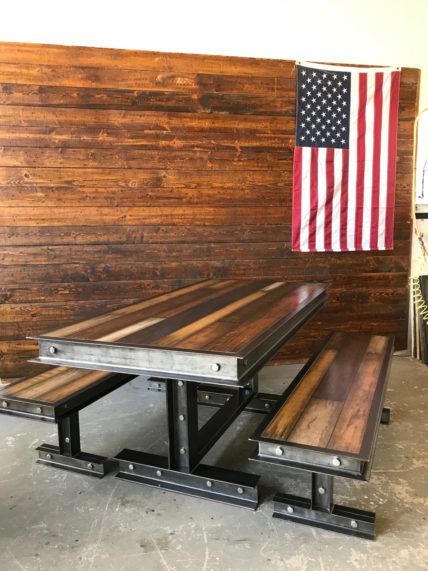 Picture of: 065 Industrial Steel Reclaimed Wood Dining Room Table Industrial Evolution Furniture Co