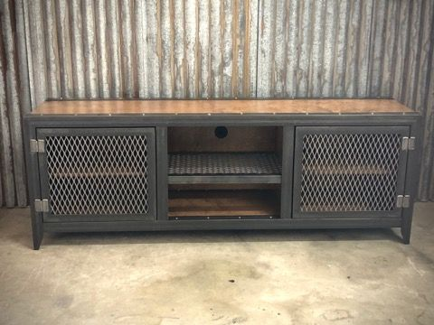 #002 - Vintage Industrial Media Console Cabinet