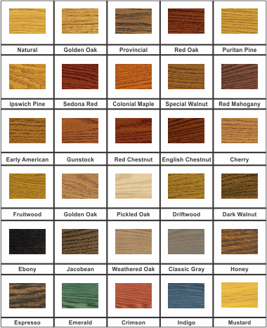 Stain Color Chart - IndustrialFurnitureCo.com