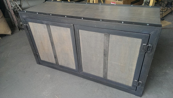 #031 - Weathered Industrial Credenza/Media Cabinet