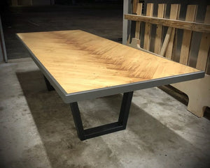#102 - Wood plank herringbone pattern rustic minimalist conference table