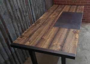 #102 - Rustic Industrial Distressed Desk Table with Steel Straps and Steel Legs