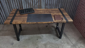 Rustic industrial distressed Desk Table with steel straps and steel legs #102
