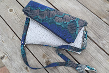 Load image into Gallery viewer, Turquoise Blue Reversible Ankara, African Print Foldover Clutch Purse