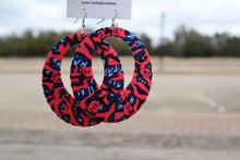 Load image into Gallery viewer, Pink and Black Ankara Hoop Earrings, large, African print, vibrant.