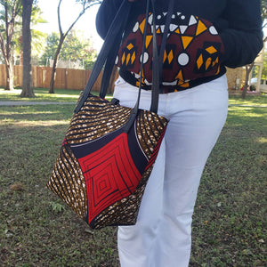 Ankara(African print fabric) tote bag, large, everyday bag, tassel closure, zippered interior pocket,  exterior pocket, leather strap.