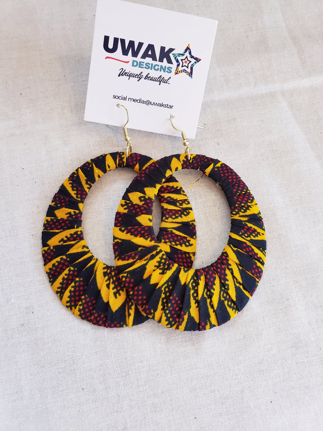 Yellow, Black, Maroon,  Ankara Hoop Earrings, large, African print, vibrant.