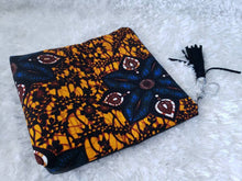 Load image into Gallery viewer, Reversible Ankara, African Print Foldover Clutch Purse, evening bag, casual bag, black, vinyl, flat bottom, gift for her, perfect gift.