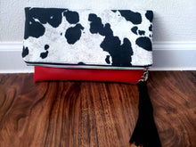 Load image into Gallery viewer, Cowhide Suede/Vinyl Reversible Foldover Clutch Purse, gift for her, bridesmaid gift, Ankara lining, inside pocket.