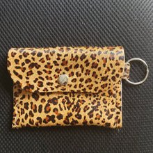 Load image into Gallery viewer, Hair-on Leopard Leather mini wallet, minimalist wallet, business card wallet.