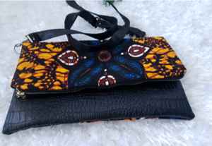 Yellow/Blue Reversible Ankara, African Print Foldover Clutch Purse