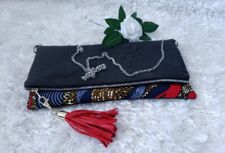 Red/Blue/Brown Reversible Ankara, African Print Foldover Clutch Purse