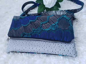 Turquoise Blue Reversible Ankara, African Print Foldover Clutch Purse