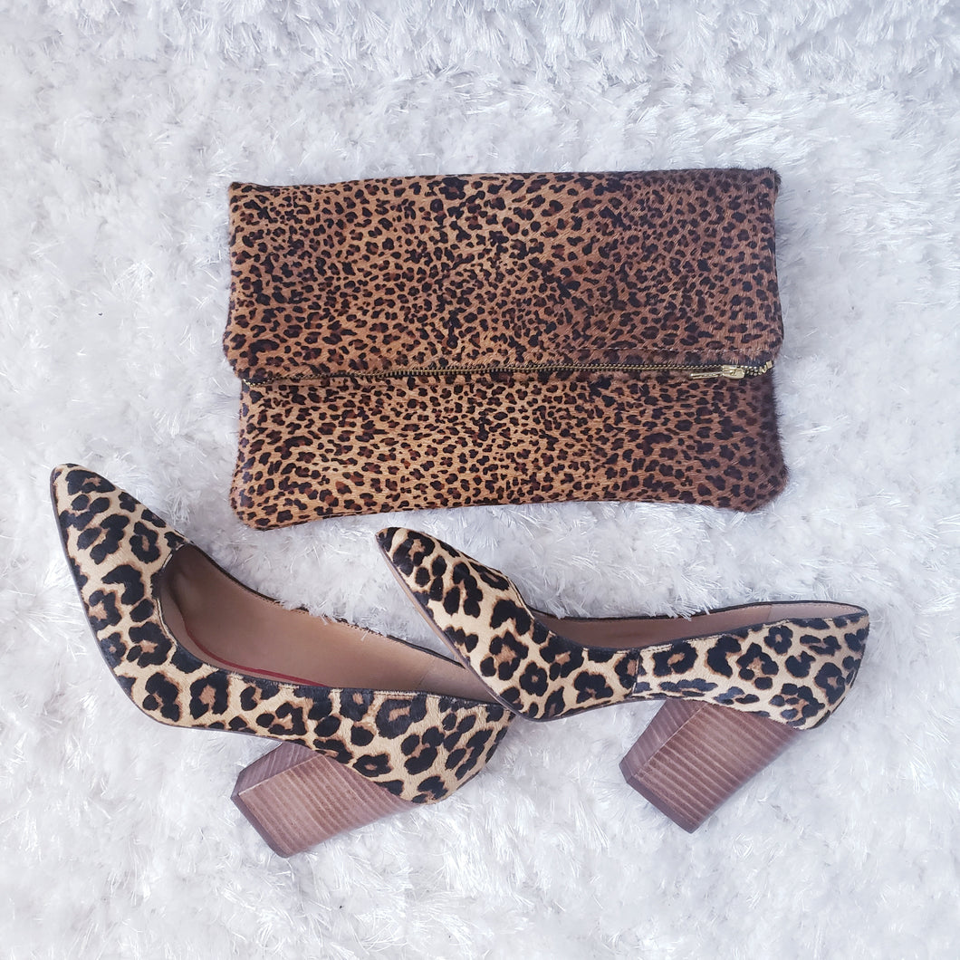 Hair-on Leopard Leather Foldover Clutch Purse