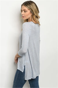 Long Sleeve Scoop Neck Blue Jersey Tunic T-Shirt