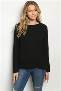Long Sleeve Round Neckline Black Sweater