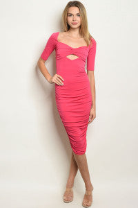 Short Sleeve Cut Out Fuchsia Bodycon Dress