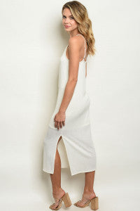 Spaghetti Straps with Side Slit Ivory Midi Dress