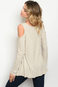 Long Sleeve Cold Shoulder Scoop Neck Ribbed Sand Tunic Top