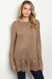 Long sleeve round neck brown tunic top with eyelet frill hem details