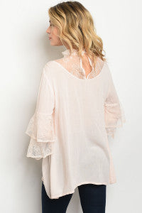 Light Pink Long Sleeve Blouse with Lace Neckline and Sleeve Details