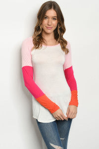 Long Sleeve Scoop Neck Jersey Ivory and Pink T-Shirt