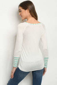 Women's Long Sleeve Scoop Neck Jersey Ivory and Mint Tunic Top