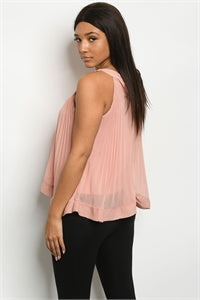 Sleeveless Halter with Sheer Overlay Pleated Rose Top.