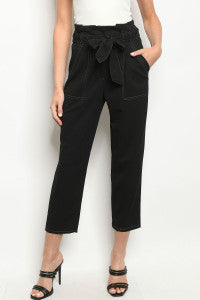 Straight Leg Cropped Pants with Sew Stitch Detail