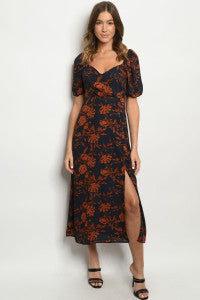 Floral Maxi Dress in Rust and Navy with Side Slit