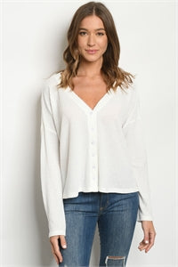 Women's Long Sleeve Drop Shoulder V-neck Button Front Waffle Ribbed Top