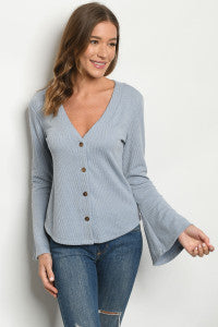 Long Flare Sleeve V-Neck Button Front Blue Top