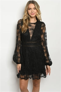 Women's Long Sleeve Round Neck Open Back Semi Sheer Lace Overlay Dress