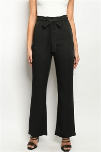 High Waist Black Tie Belt Straight Leg Pants