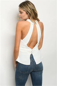 Sleeveless Halter with Keyhole Open Back Buckled Belt Blouse