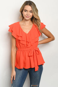 Short Sleeve Peplum Top with Tie Waist in Tomato