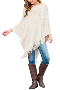 FRINGE PONCHO AVAILABLE IN TWO COLORS: BRICK AND BEIGE