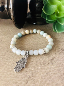Amazonite Bracelet Hamsa Hand Healing Bracelet with Frosted Quartz