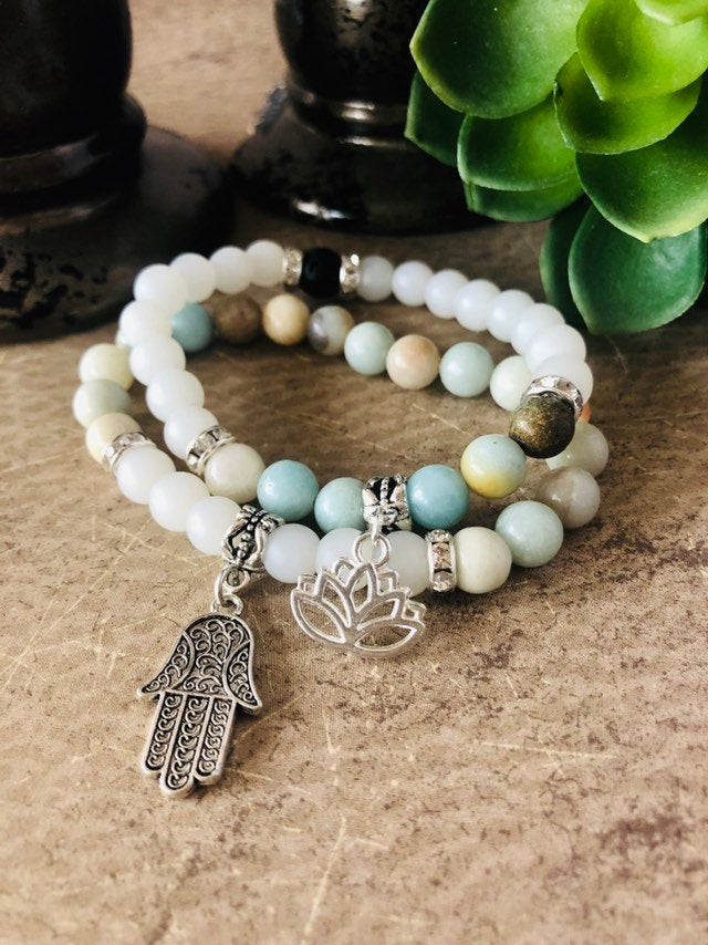 Amazonite and Frosted Quartz Crystal Diffuser Healing Bracelet Set