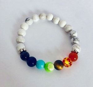 7 Chakra White Howlite Healing Bracelet with Meaning Card