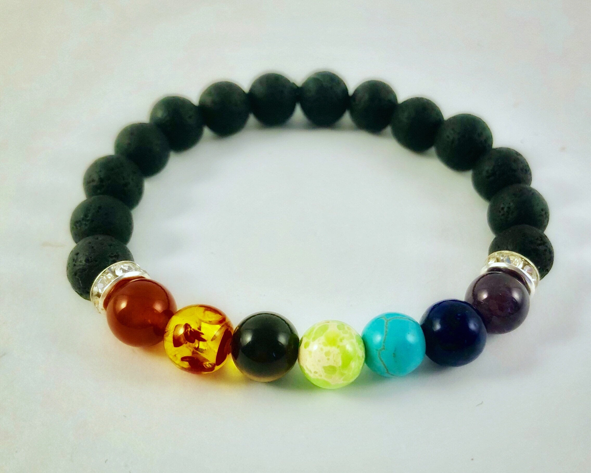 Chakra Healing Bracelet Set with Black and White Lava Stones and Genuine Crystals