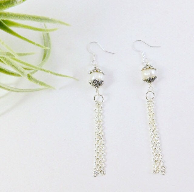 Freshwater Pearl Sterling Silver Dangle Bridal Earrings