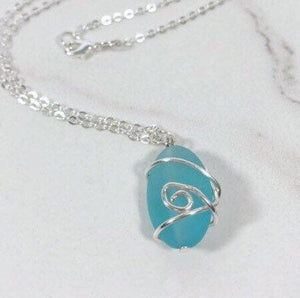 Blue Sea Glass Wire Wrapped Sea Glass Wire Wrapped Pendant Necklace
