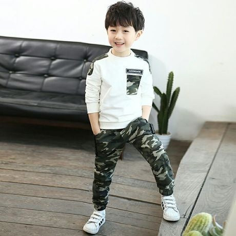 Camouflage Boys' Sports Version Two-piece Set